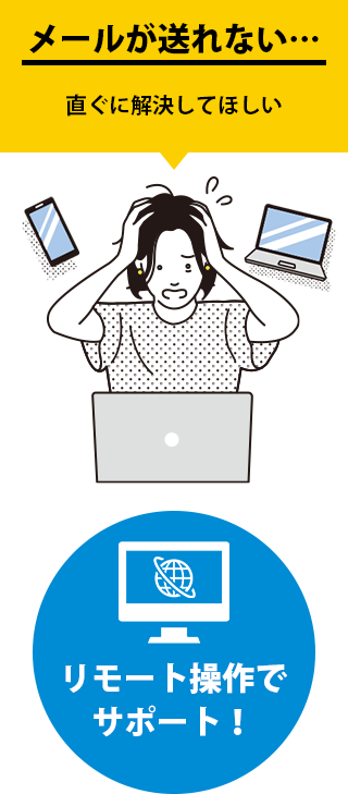 メールが送れない… 直ぐに解決してほしい リモート操作でサポート!